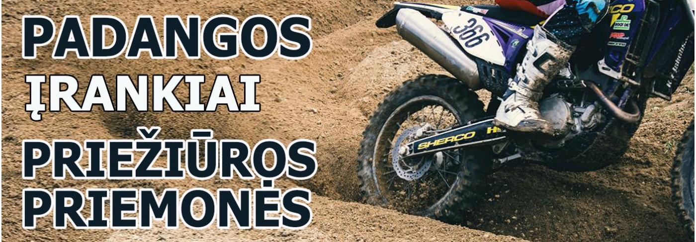Motociklų padangos, įrankiai, priežiūros priemonės