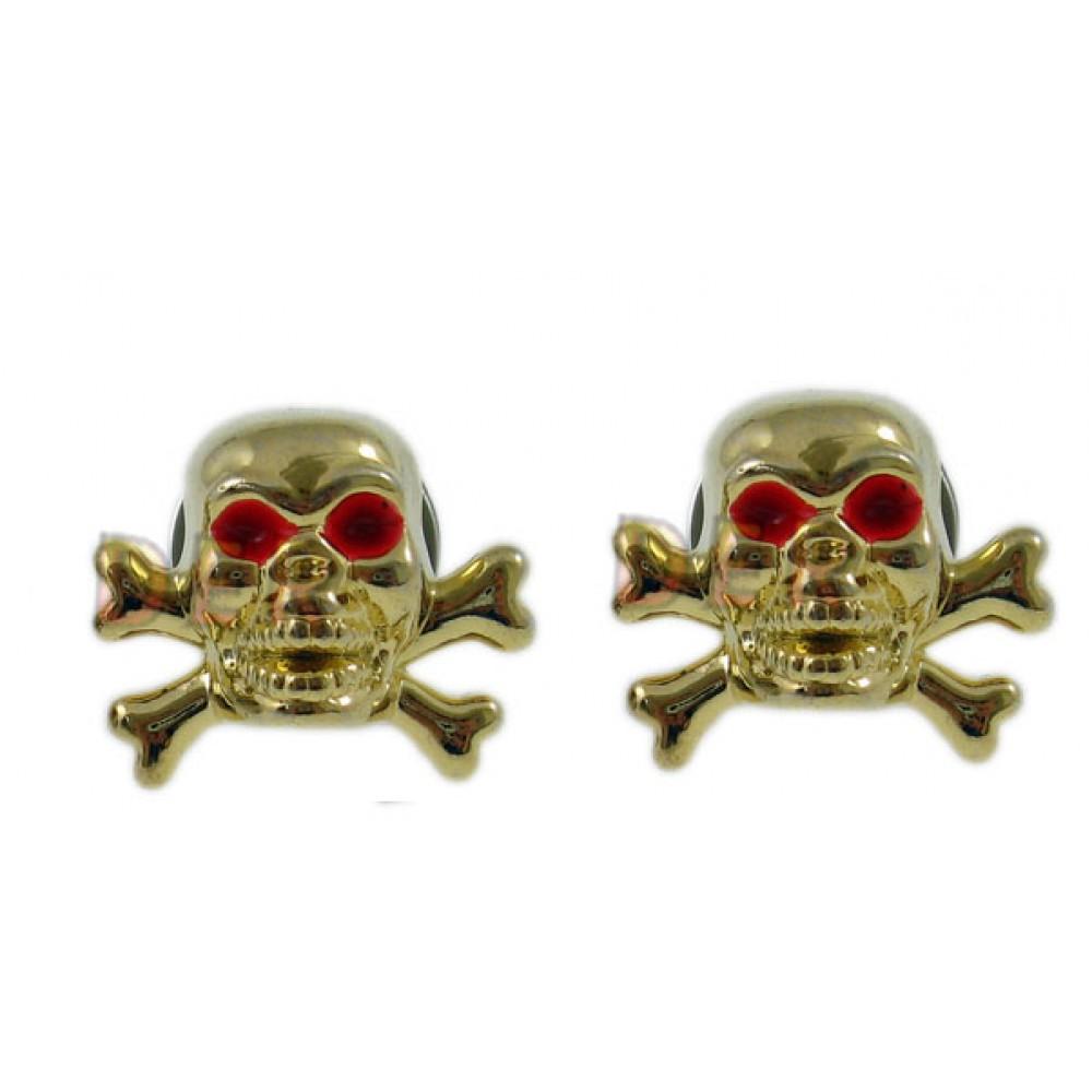 Varžtai – kaukolės – numerio tvirtinimui (auksinės, raudonos akys)